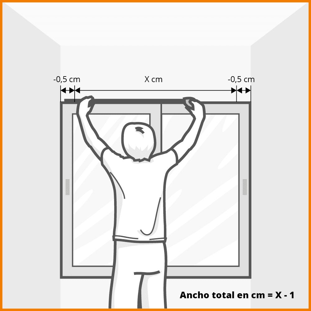 ancho cortina vertical cuando está encajada entre paredes