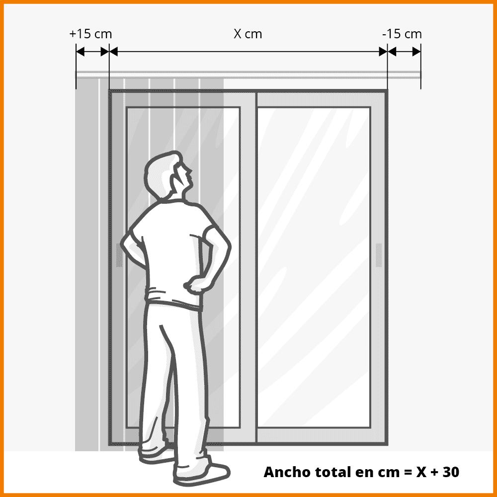 ancho cortina vertical cuando hay espacio libre a ambos lados