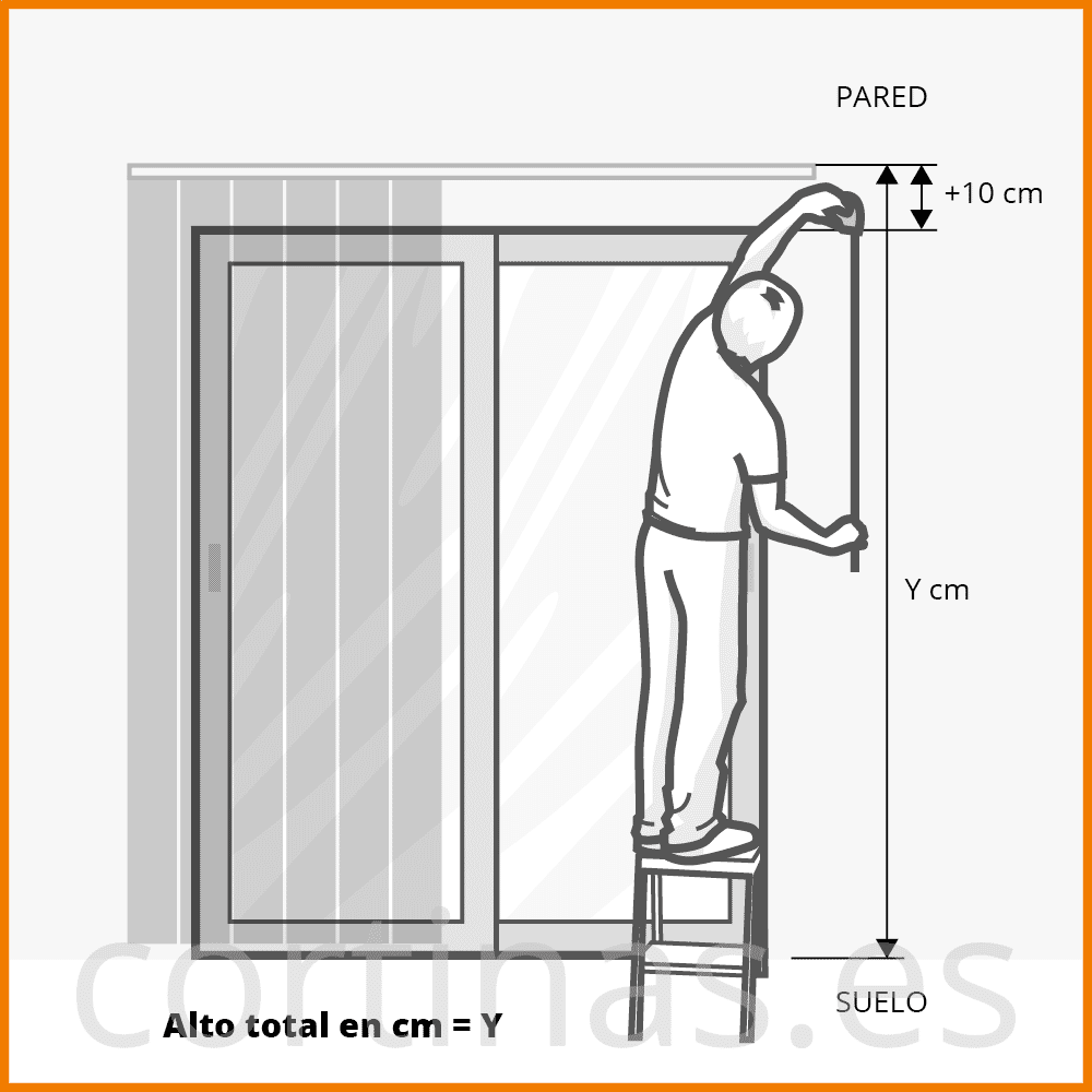 cortina vertical riel anclado a pared