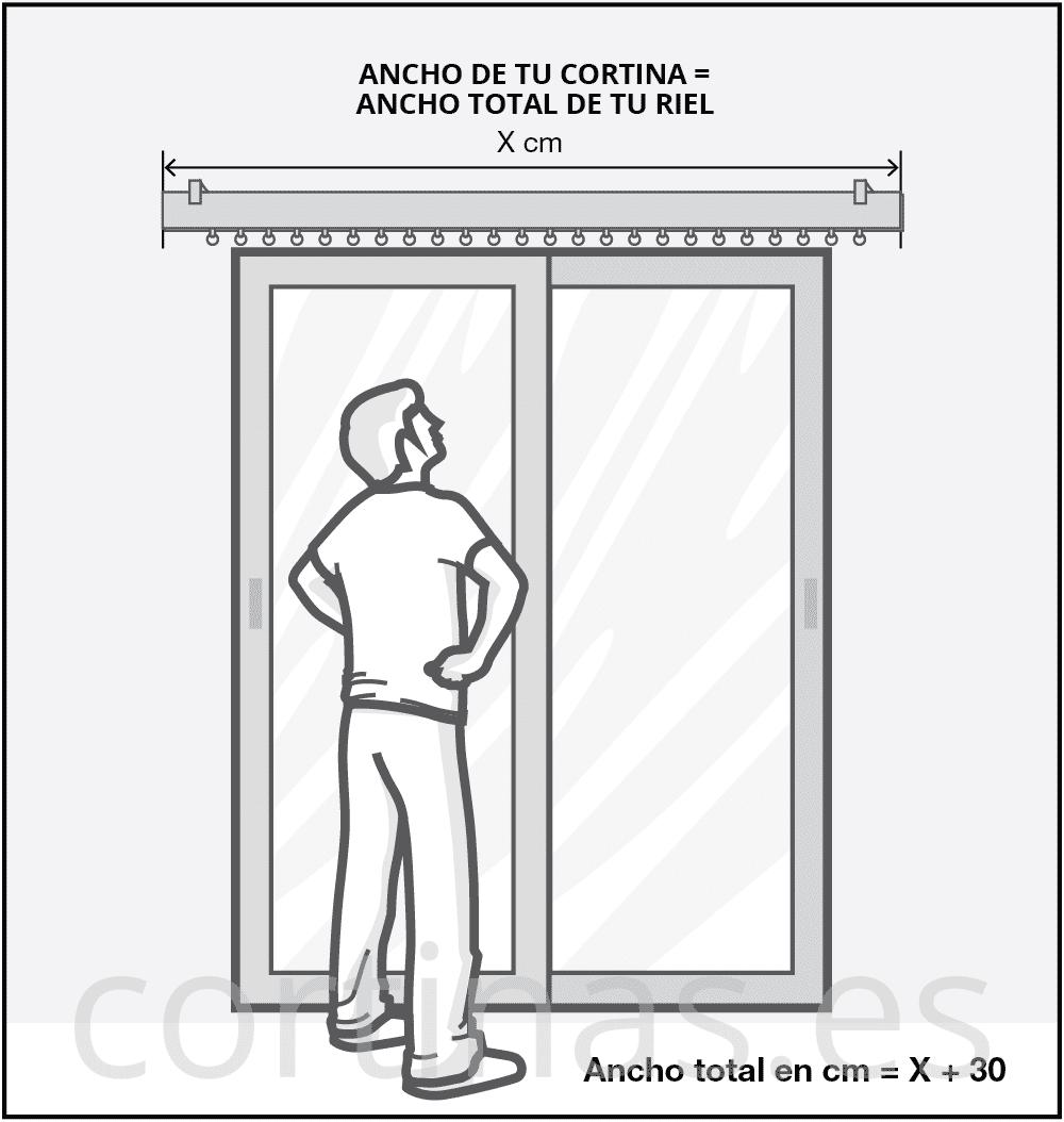 El ancho de la cortina debe ser igual al ancho del riel